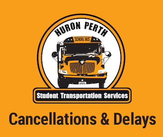 Huron Perth Student Transportation Services logo. Cancellations & Delays.