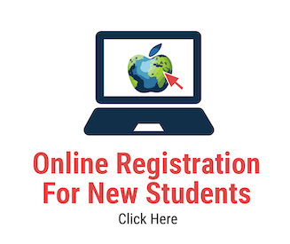 Illustration of laptop with AMDSB apple on screen and red mouse arrow pointing to it. Online Registration for New Students.